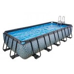EXIT zwembad Wood 400x200x100cm metzandfilterpomp – grijs